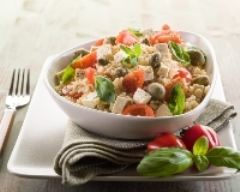 Recette salade de riz minceur au tofu, tomates et olives