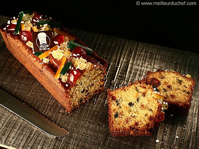 Cake fruits confits  la recette illustrée  meilleurduchef.com