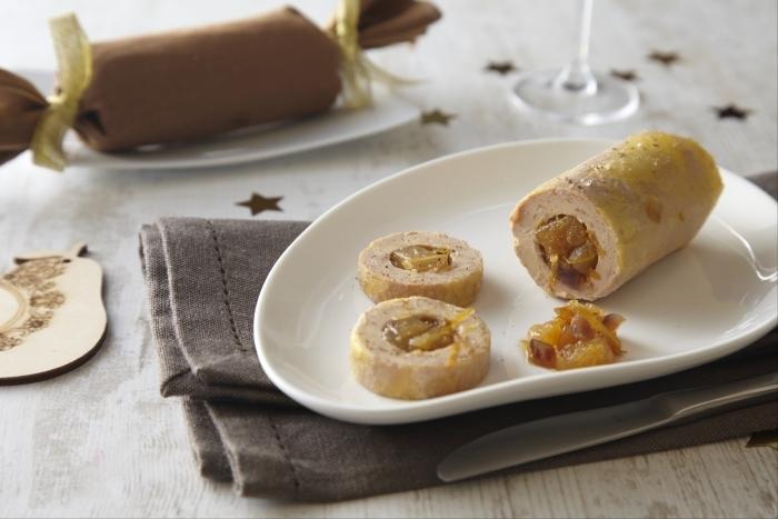Ballotine de foie gras et coings poches recette - Recette du foie gras ...