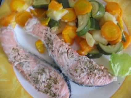 Recette de saumon vapeur et ses petits légumes