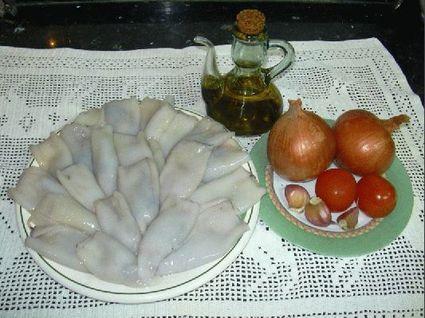 Recette de calamars farcis et frites de poivrons