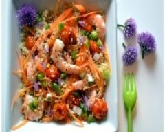 Recette salade estivale de quinoa, crevettes marinées à l'ail et ...