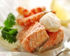 Recette papillotes de saumon aux crevettes et st-jacques léger
