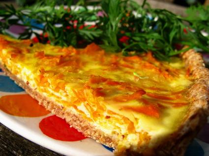 Recette de la tarte à la carotte, oignons et fromage
