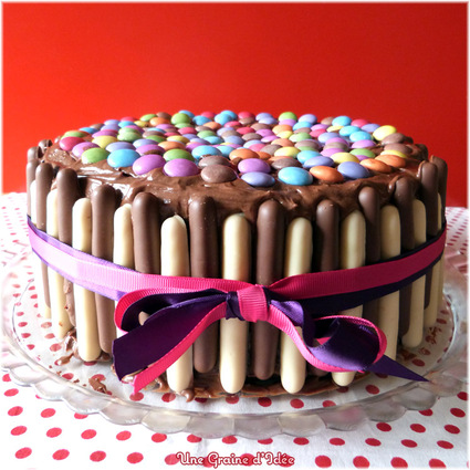 Recette de layer cake party chocolat framboise (smarties-finger ...