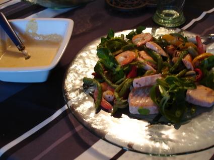 Recette de salade de légumes grillés et crevettes au curry