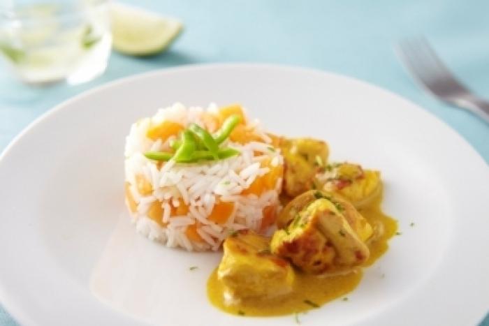 Recette de curry de poulet mariné au citron vert, riz au potiron facile ...