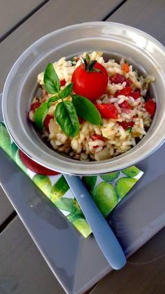 Risotto aux tomates séchées, poivron et pécorino
