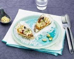 Recette huîtres poêlées sur royale et gelée de pomme
