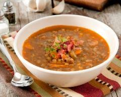 Recette potage aux lentilles, bacon et thym