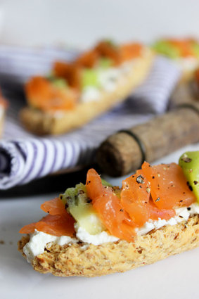 Recette de tartines saumon  kiwi