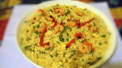 Recette de riz avec des crevettes et ses légumes