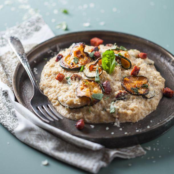 Recette risotto de quinoa aux courgettes et chorizo