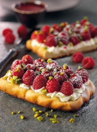 Recette de tarte au mascarpone et aux framboises, coulis de fruits ...