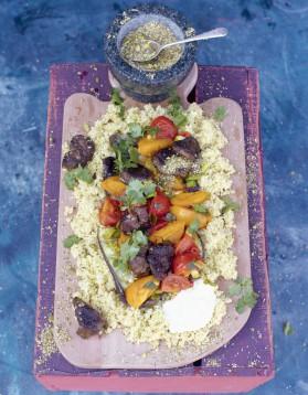 Tajine d'agneau, aubergines poêlées et crumble de cumin pour 4 ...