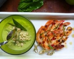 Recette duo de courgettes et crevettes marinées