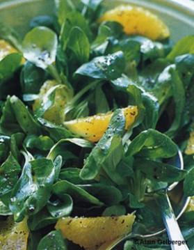 Salade de mâche à l'orange pour 6 personnes