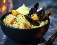 Recette risotto aux moules et chantilly au safran