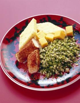 Filet de lapin aux épices, riz vert et fruits pour 6 personnes