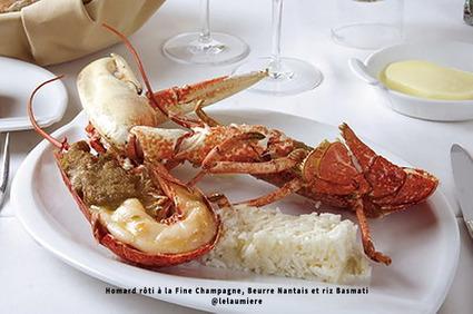 Recette de homard rôti à la fine champagne, beurre nantais et riz ...