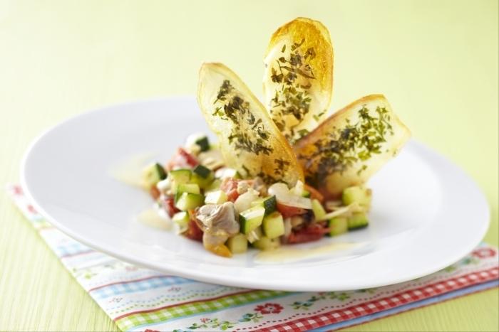 Recette de croustillant de pommes de terre aux petits légumes
