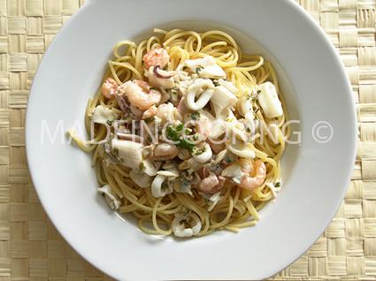 Recette de spaghettis aux fruit de mer
