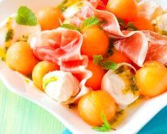 Recette salade de melon, mozzarella et jambon cru