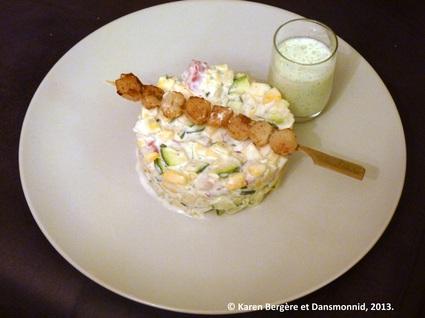 Recette brochettes de saint jacques sur salade de courgettes et radis
