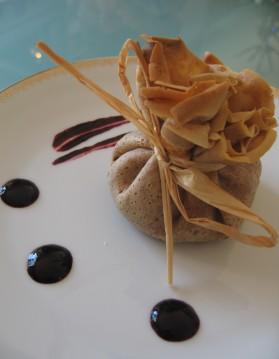 Aumonières à la farine de châtaigne, boudin noir et purée pomme ...
