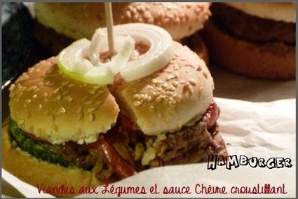 Recette de hamburger viandes aux légumes et sauce chèvre ...