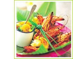 Recette gambas grillées, brocolis et chutney d'abricots