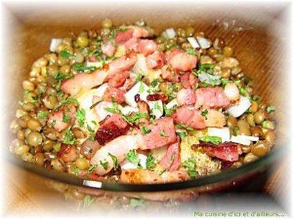 Recette de salade de lentilles, haricots blancs et lardons