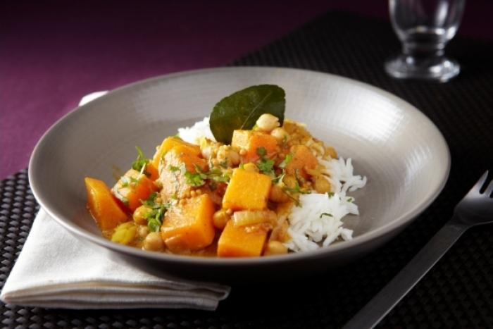 Recette de potiron à la thaï, curry de pois chiche, riz basmati ...
