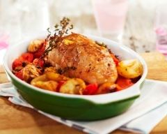 Recette rôti de veau au thym, champignons et pommes de terre ...