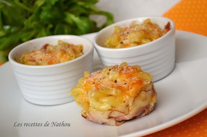 Recette de mini-gratins de pâtes au lard et aux 3 fromages