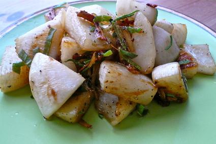 Recette de navets caramélisés au gingembre et à la sauge