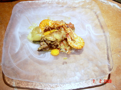 Recette de poulet aux gambas et ses légumes en sauce