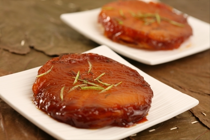 Recette de tatin de mangue au citron vert, coulis fruits de la passion ...