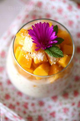 Recette de perles du japon au lait de coco et à la mangue fraîche ...