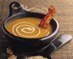 Recette soupe de potiron au quinoa et croustillant de lard