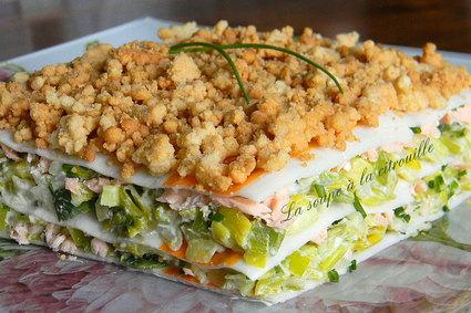 Recette de lasagnes de surimi au saumon et aux poireaux