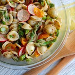 Recette salade de pâtes orecchiette et d'asperges sauce moutarde ...