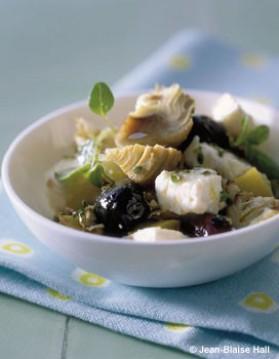 Salade artichauts, feta, olives, citron confit pour 4 personnes ...