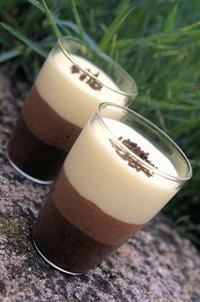 Recette de verrines de trois mousses au chocolat