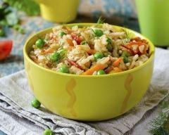 Recette riz pilaf au poulet, carottes et petits pois vite fait