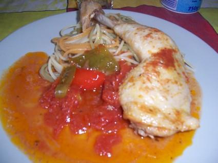 Recette de cuisse de poulet au paprika et aux tomates