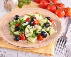 Recette salade de concombre, tomates et olives noires