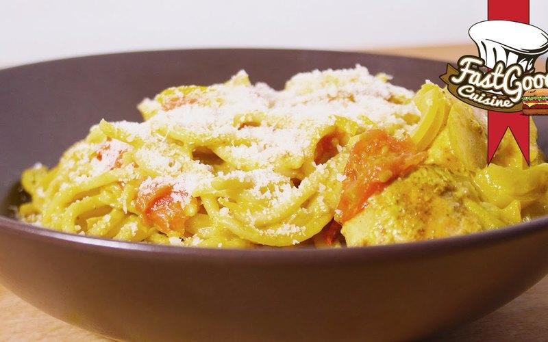 Recette one pot pasta saumon/coco/curry simple > cuisine étudiant