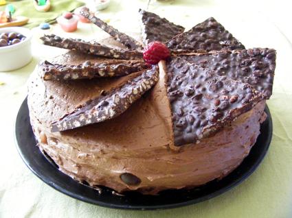 Recette de gâteau chocolat, framboises, mûres et riz soufflé