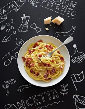 Spaghettis carbonara à la pancetta pour 4 personnes